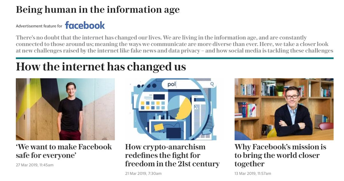 Facebook Runs Sponsored Content in Daily Telegraph to Help Get Its Message Out