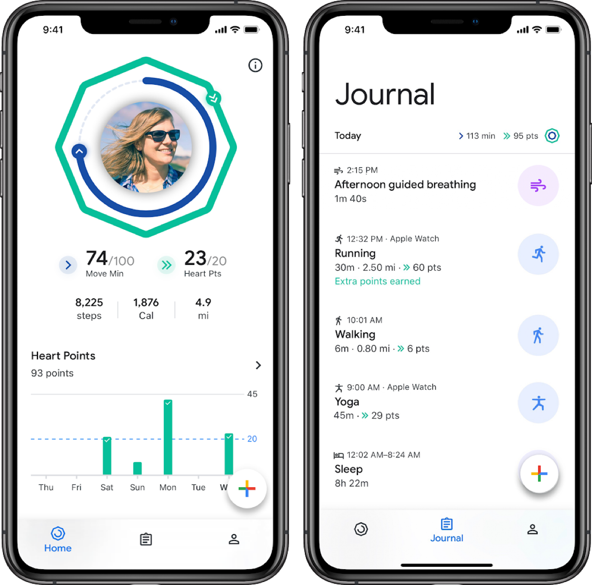 Screenshots of google fit iOS app