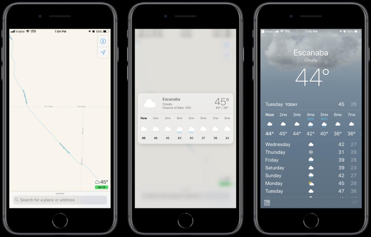screenshots of AQI in apple maps