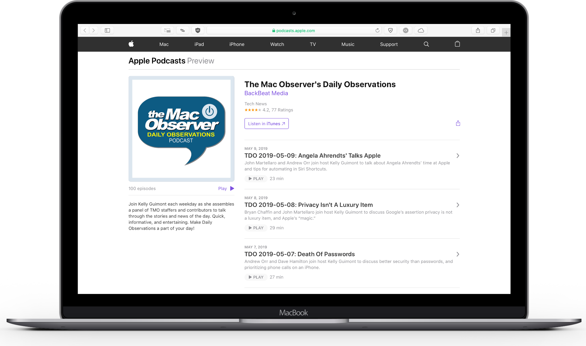 screenshot of apple podcasts on the web