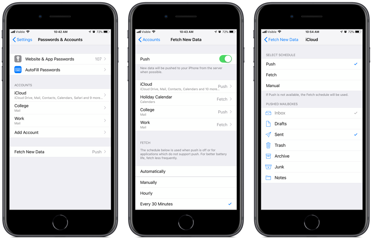 Screenshots of iOS mail push and fetch