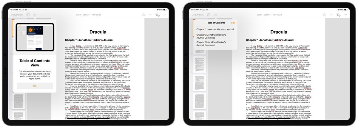 Screenshots of a table of contents in pages on iPad