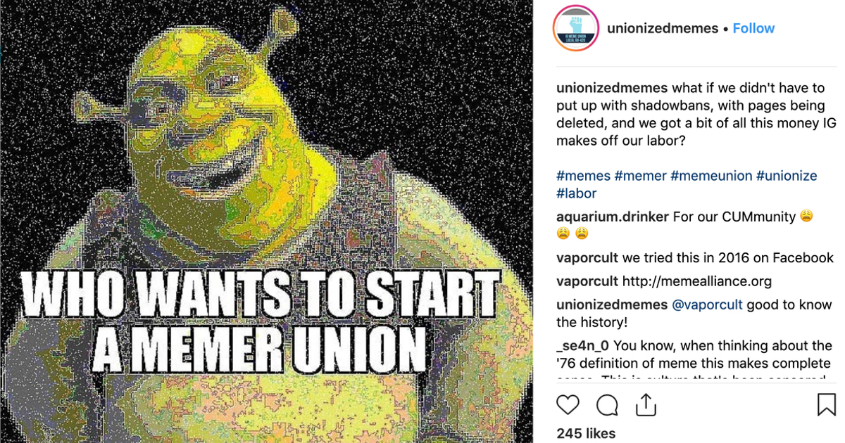 Some Instragram Meme Accounts Want to Unionize