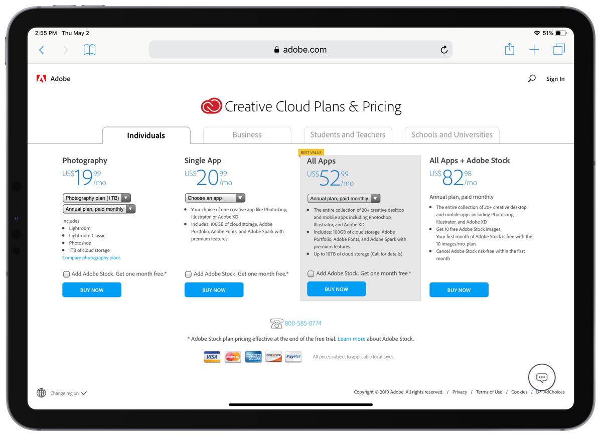 Screenshot of adobe creative cloud plans