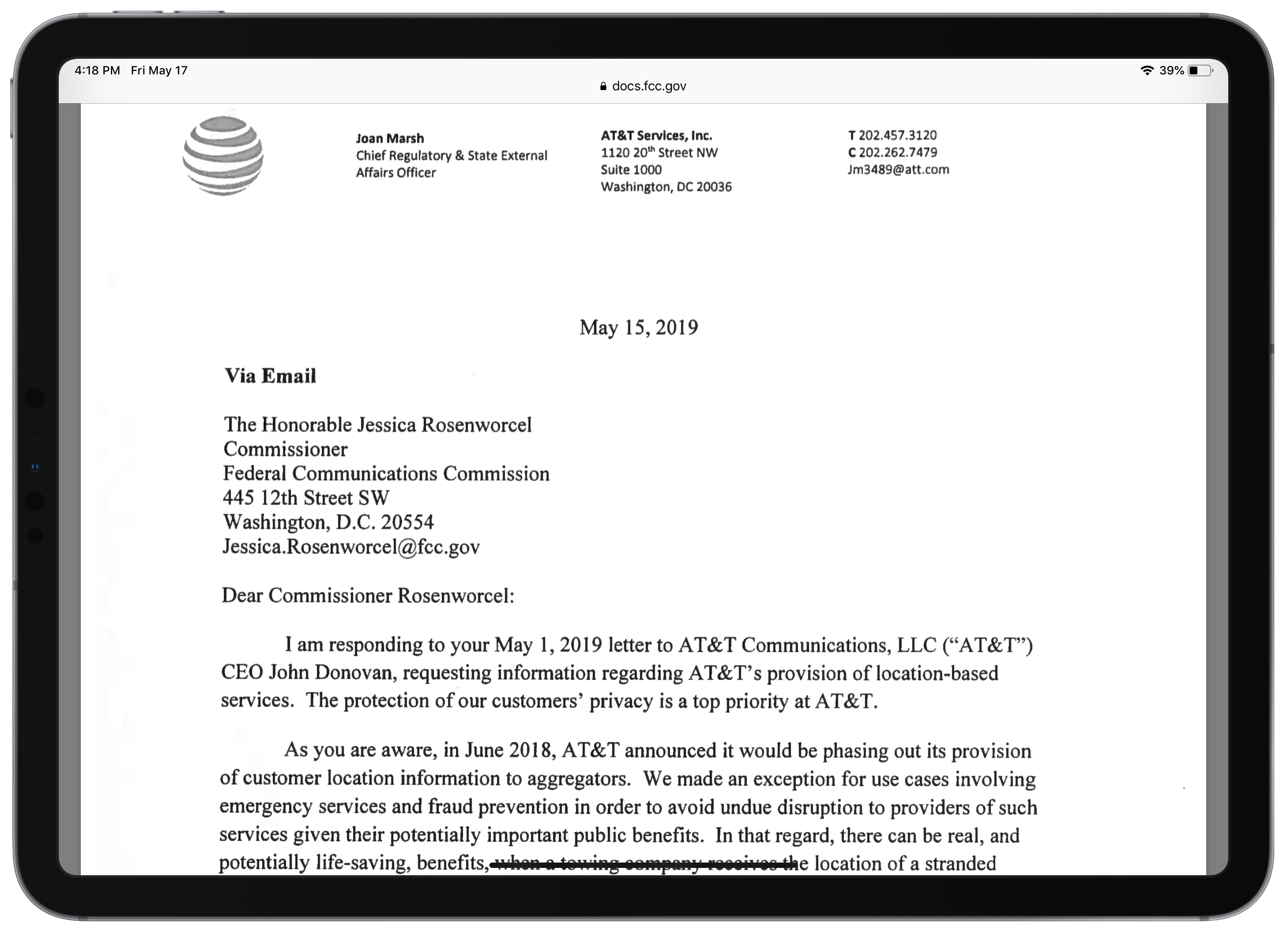 Carrier letters to FCC about selling location data