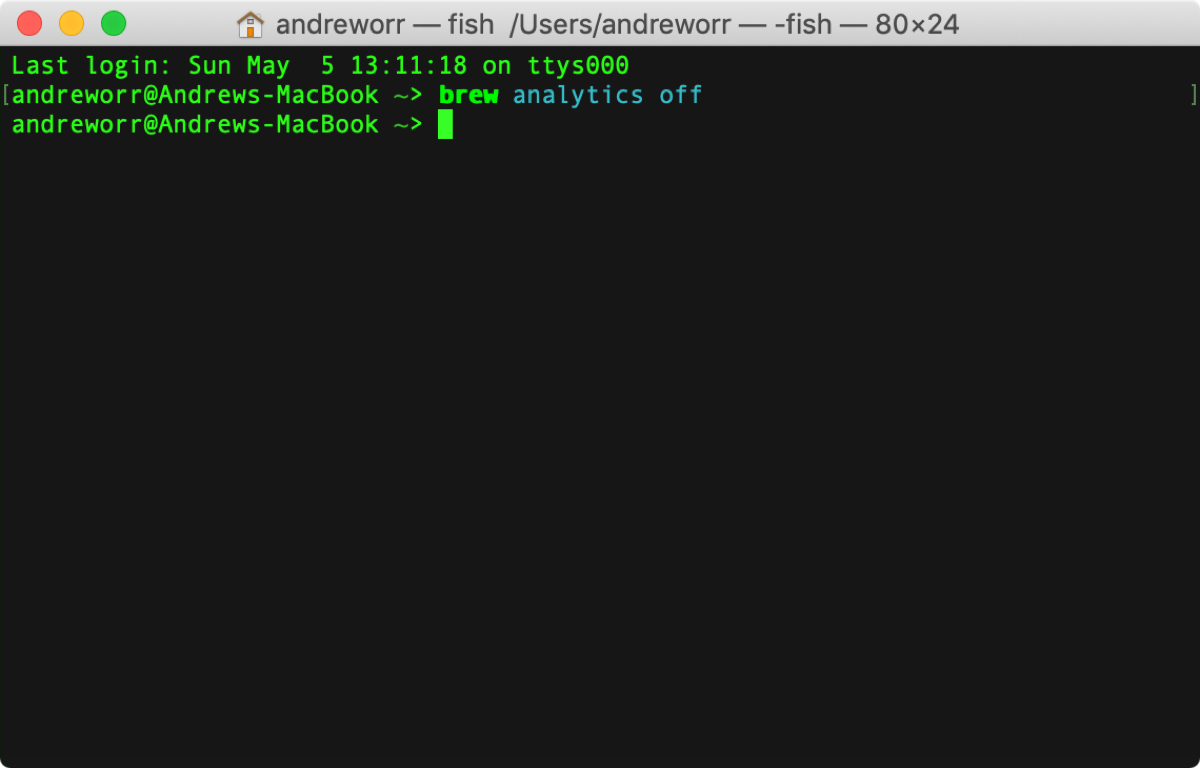 Disable Homebrew analytics in terminal