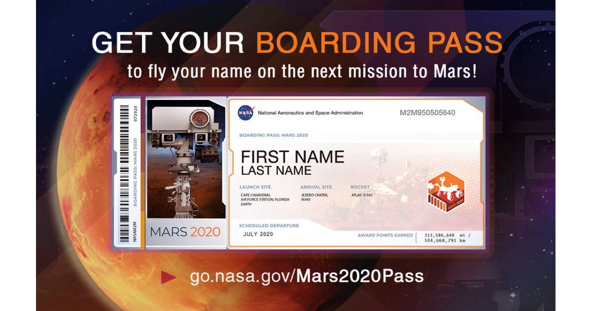Fly Your Name on the Mars 2020 Rover