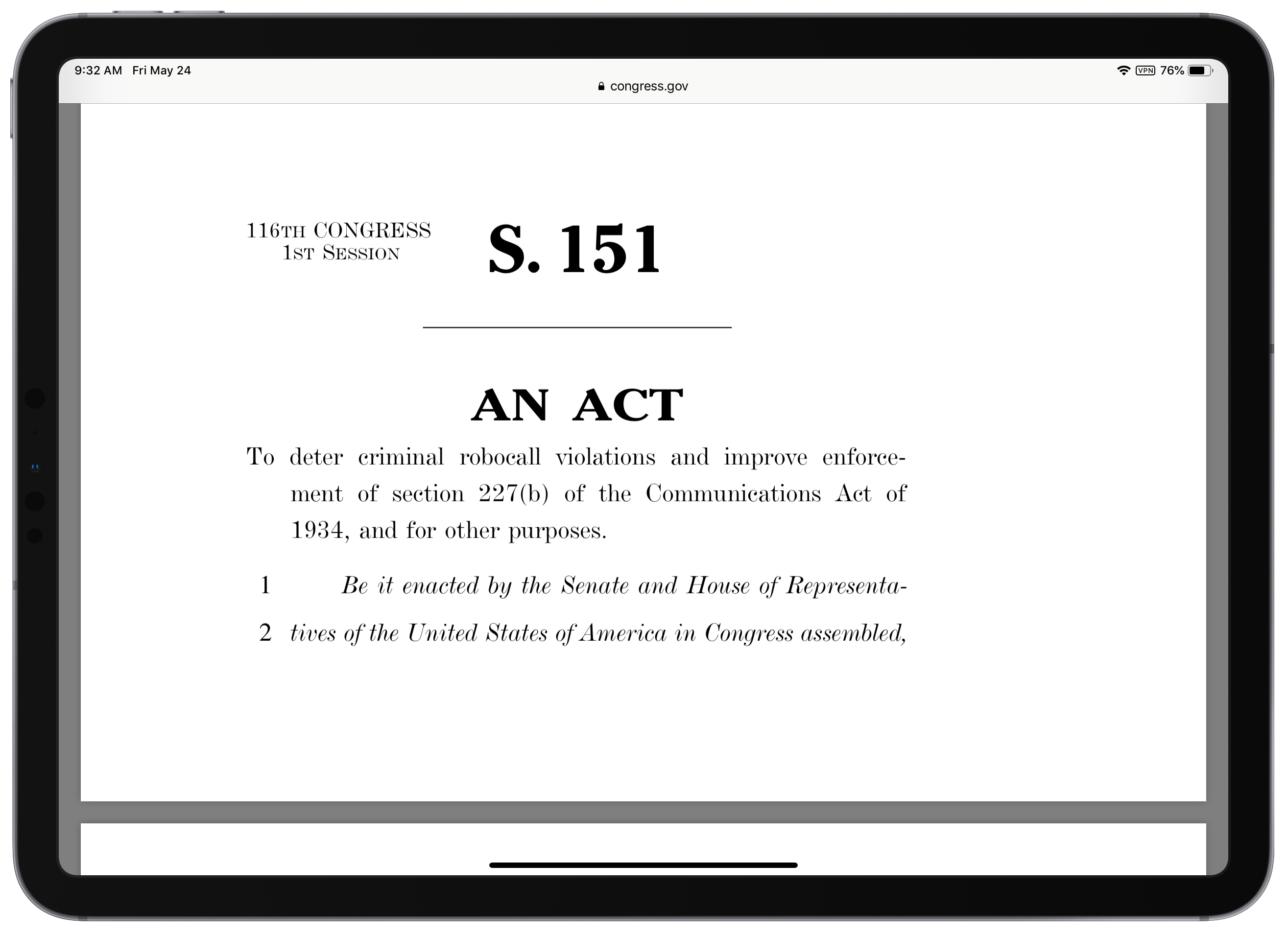 Screenshot of TRACED act