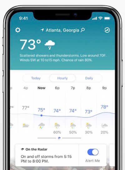 The Weather Channel iOS app
