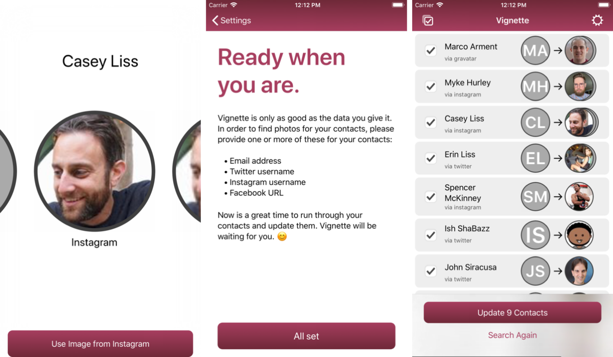 Vignette App Lets You Update Your Contact Photos Privately