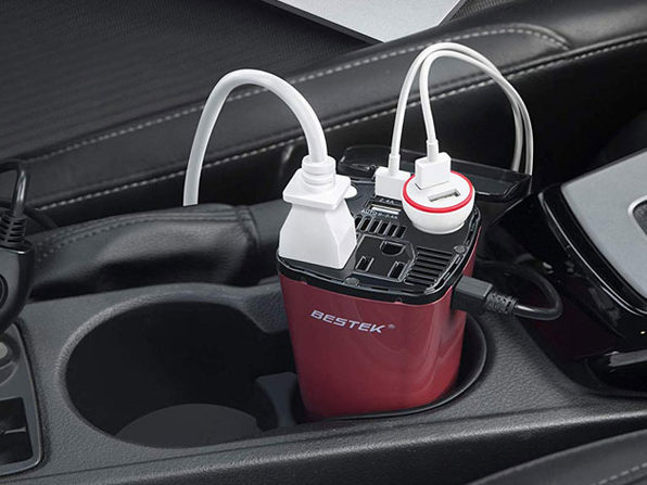BESTEK 200W Car Power Inverter With 2 AC Outlets and 2 USB Ports: $24.99