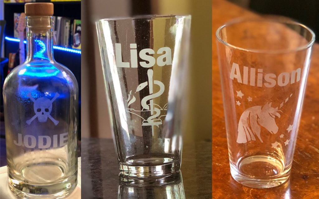 My photos don't do these etched glass items justice—they're far prettier in person.