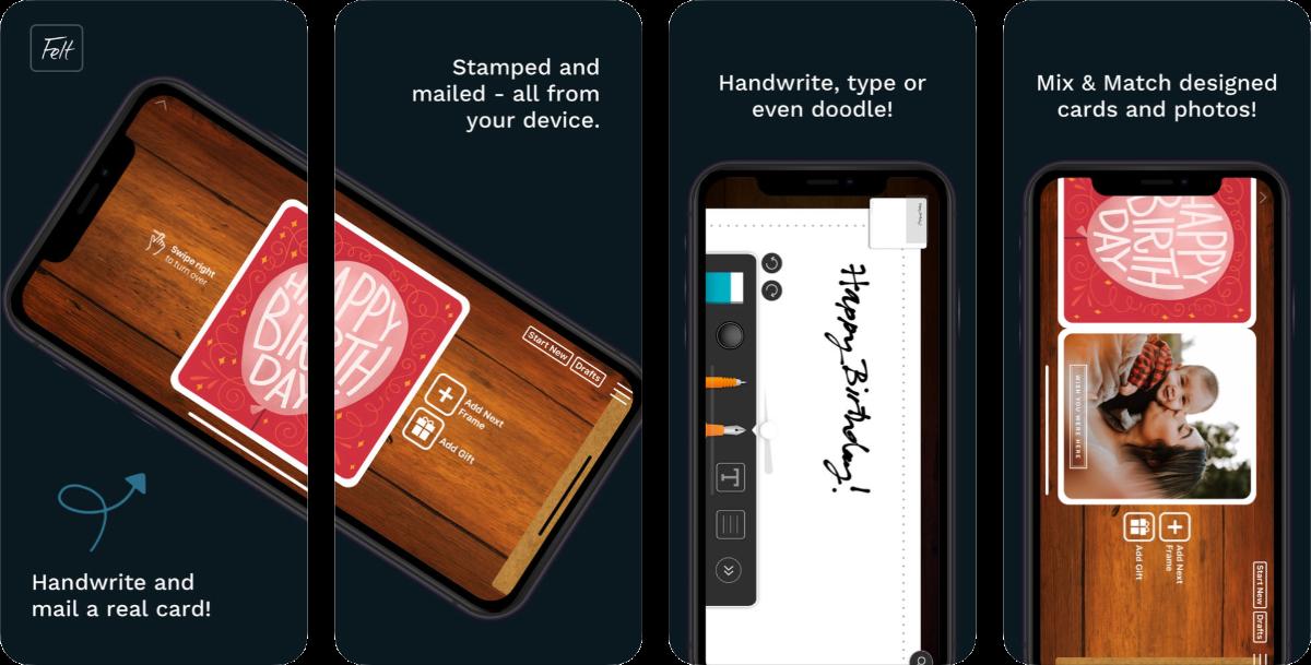 screenshots of felt app