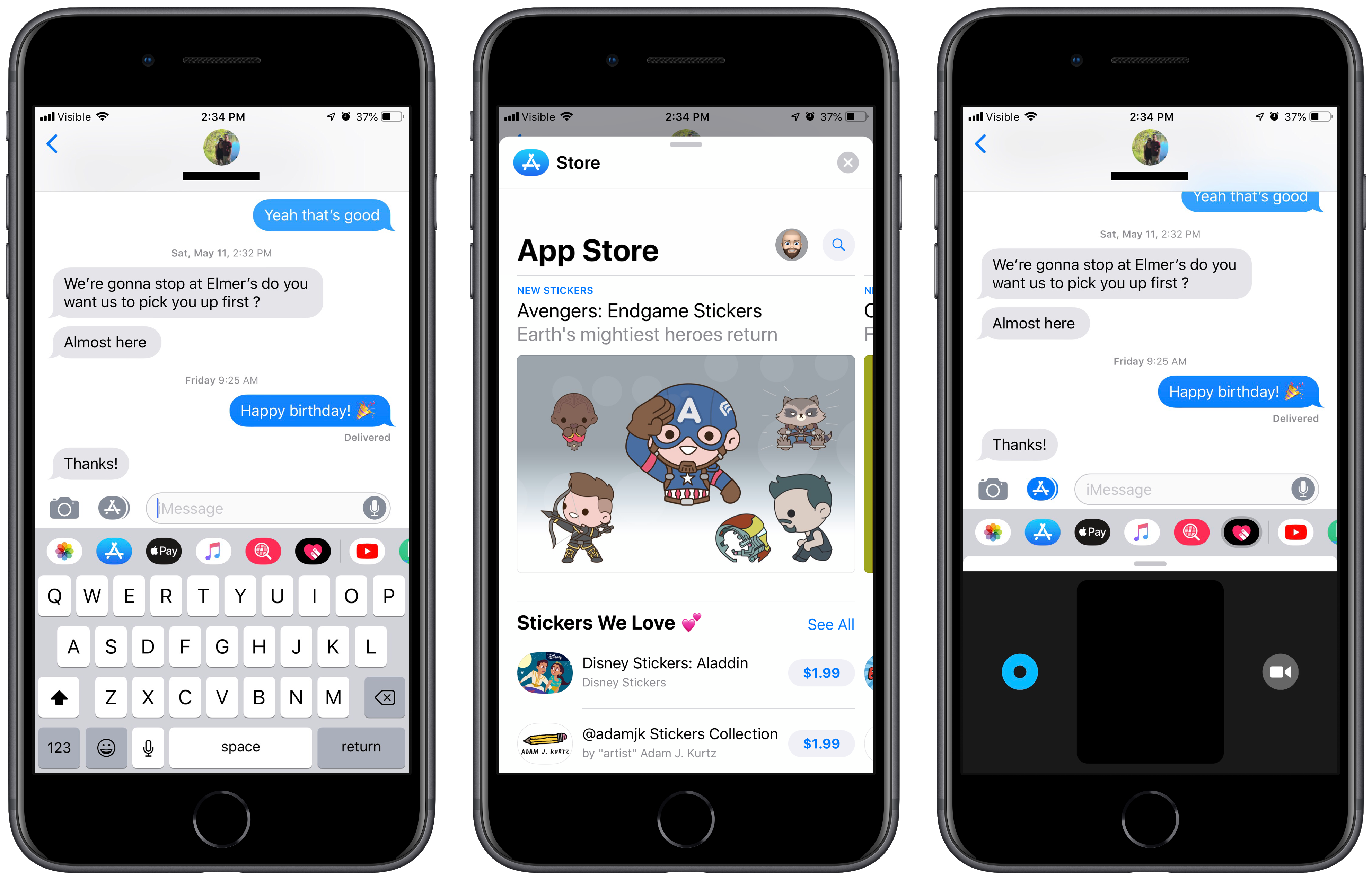 Screenshots of imessage