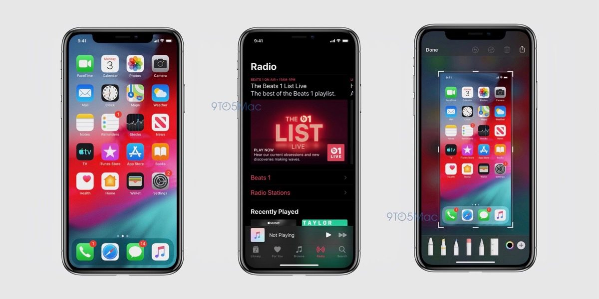 iOS 13 screenshots showing dark dock, Apple Music, and markup