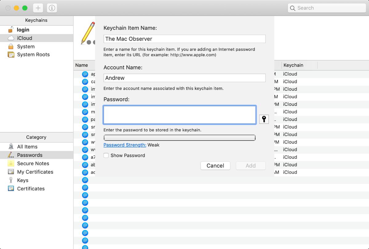 keychain access item creation