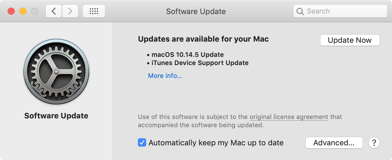 macOS 10.14.5 update settings