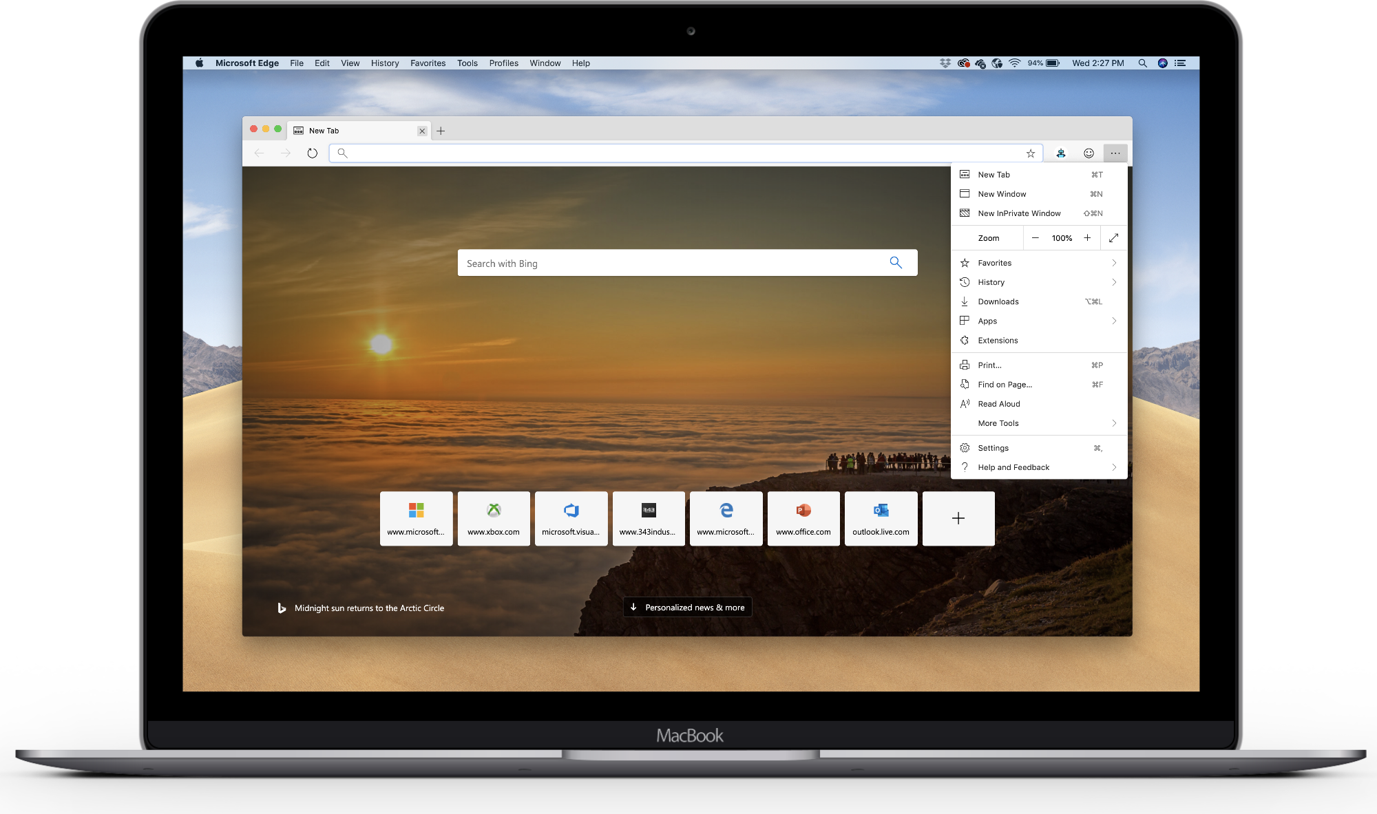 image of microsoft edge preview on macOS