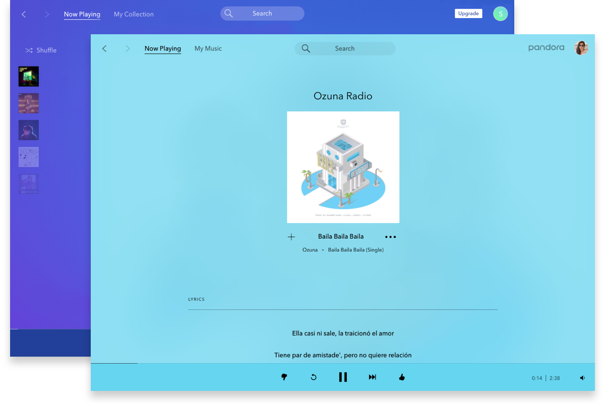 image of pandora desktop app