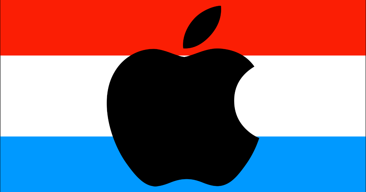 Apple Pay Hungary. Image of apple logo with Luxembourg flag.