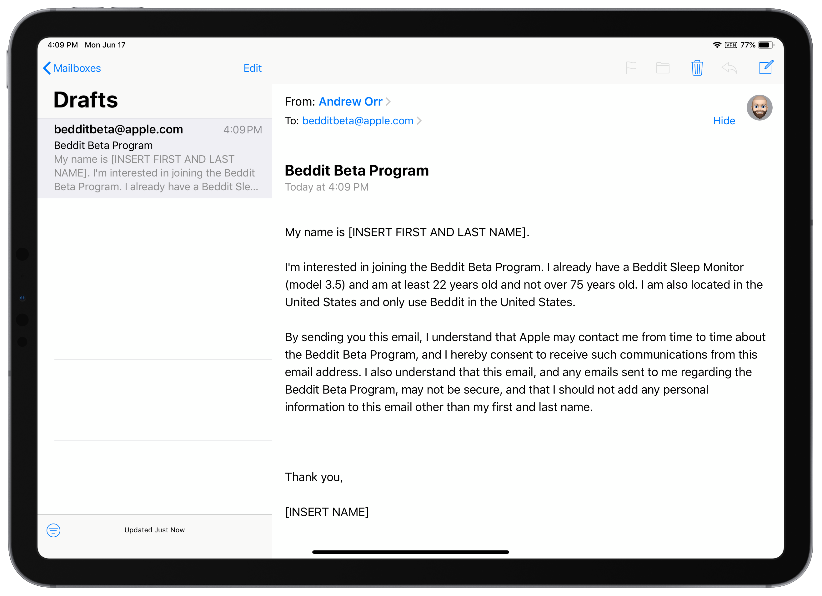 Beddit beta program email