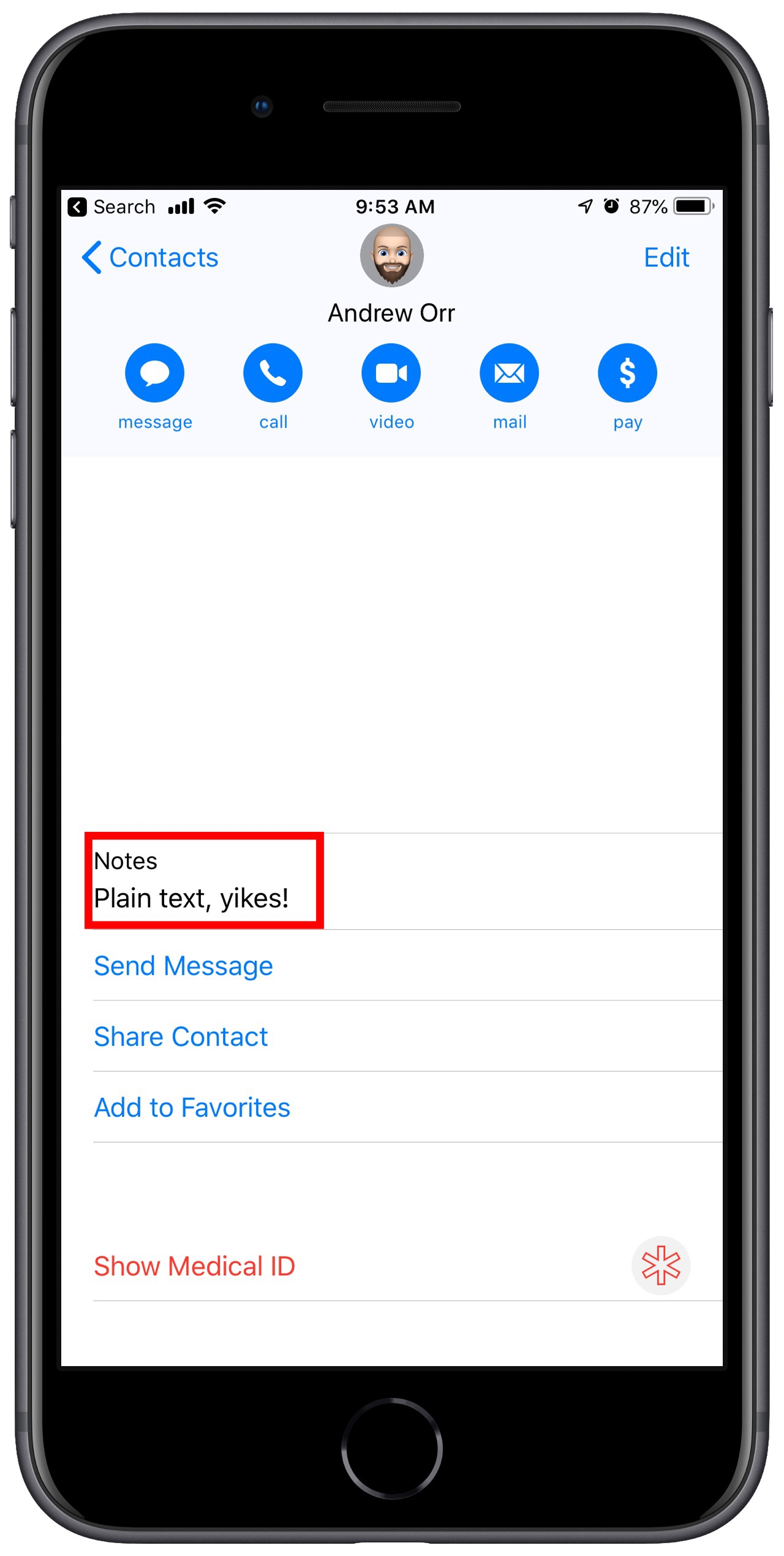 iOS 13 private notes in contacts