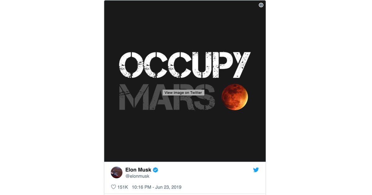 Elon Musk Tweets About Occupying Mars With Picture of the Moon