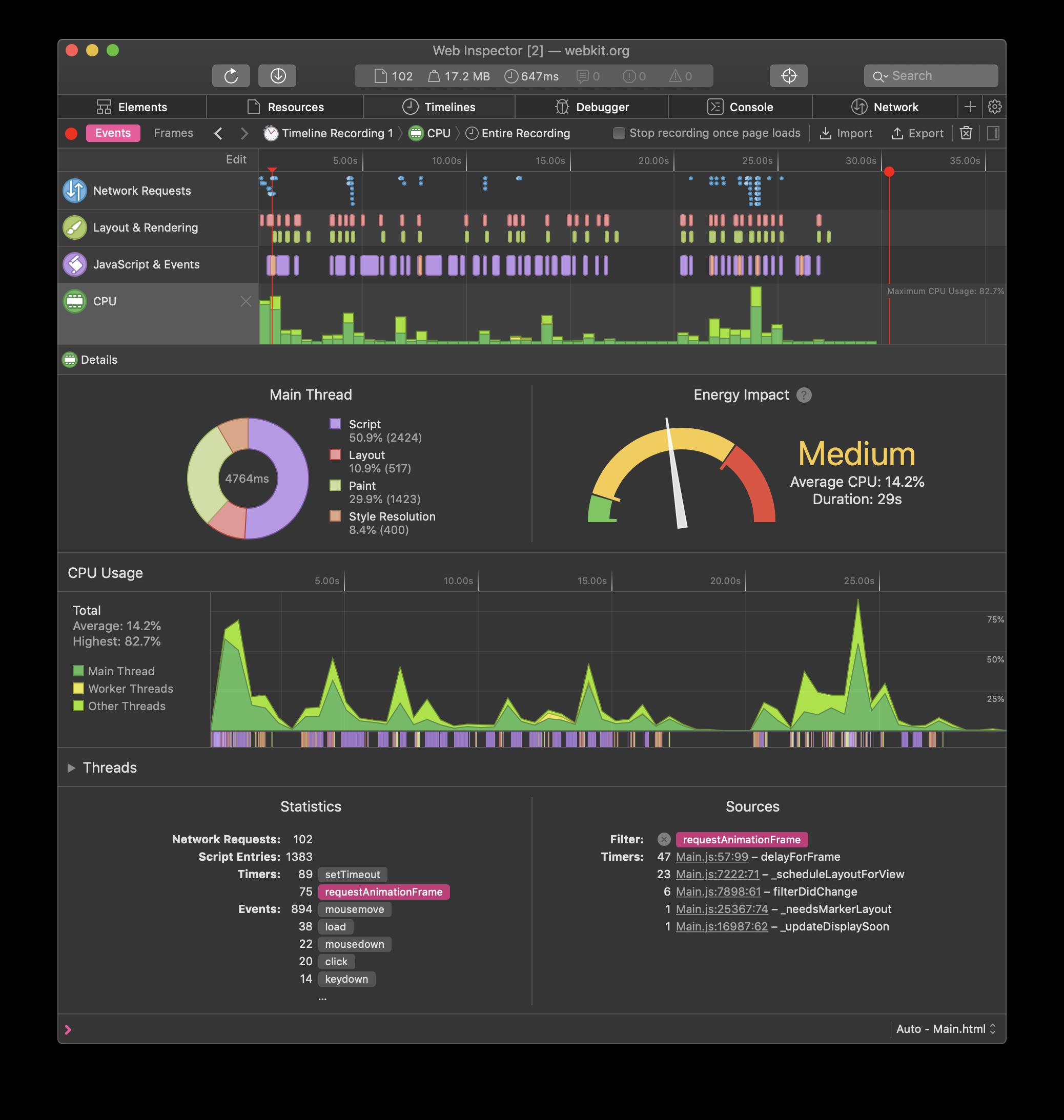 Screenshot of CPU timeline