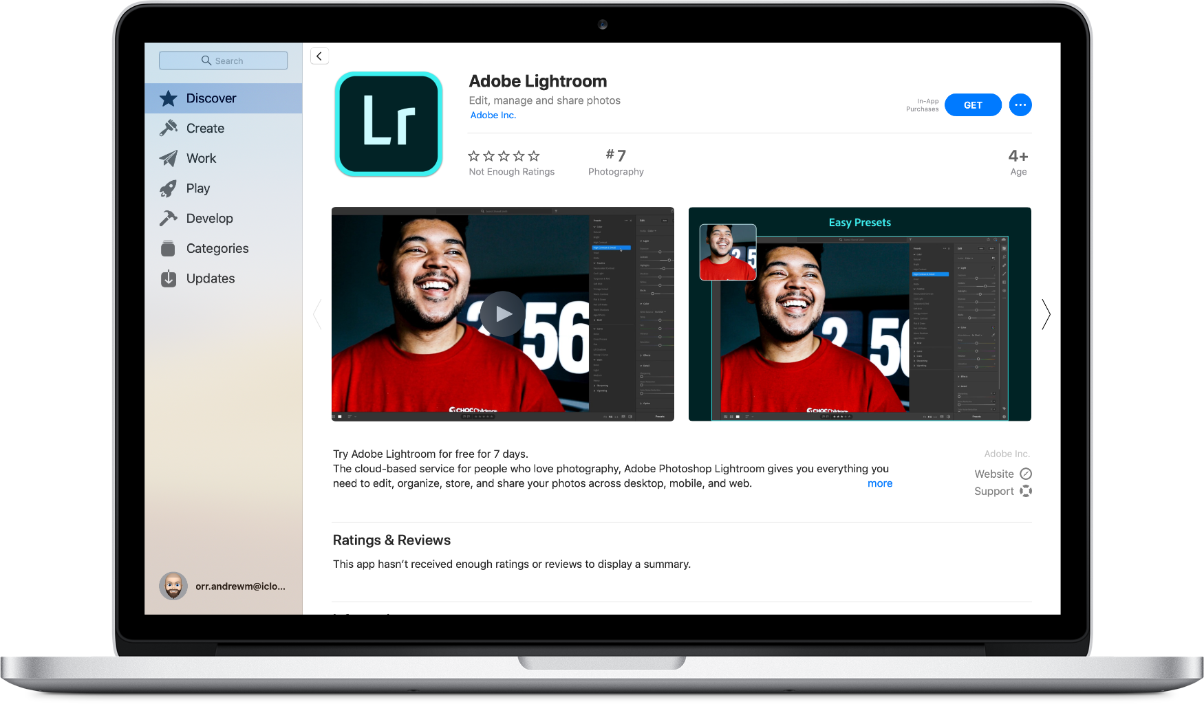 Adobe Lightroom in mac app store
