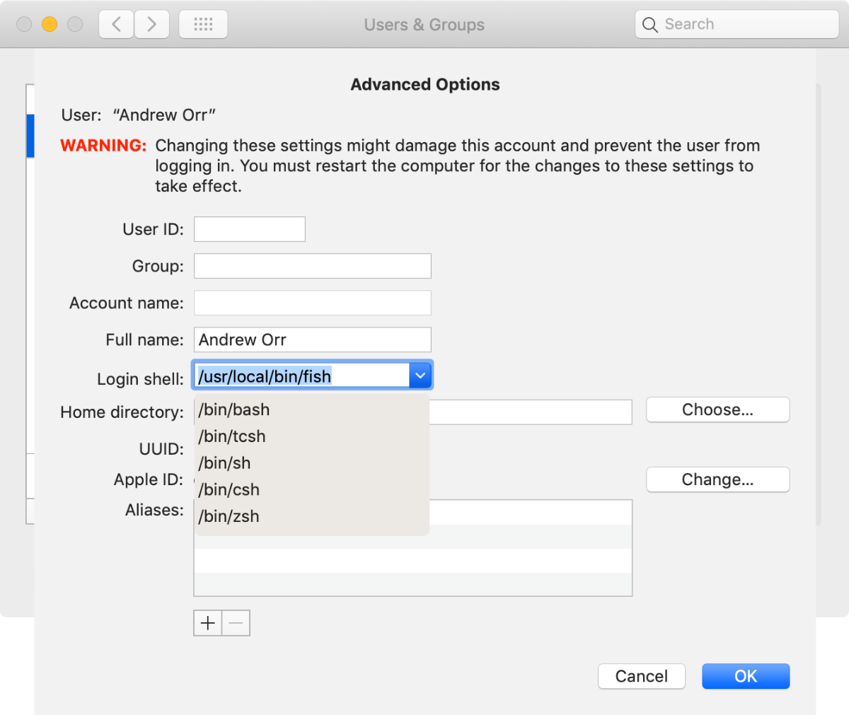 Selecting z shell in system preferences