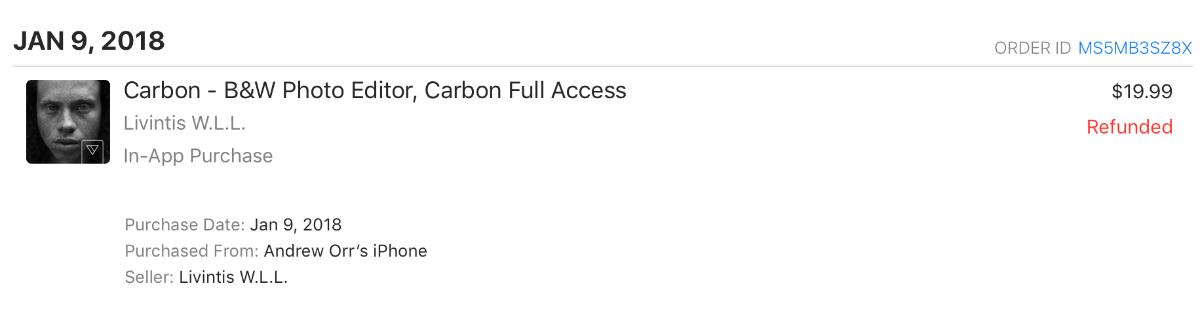 carbon purchase refund screenshot