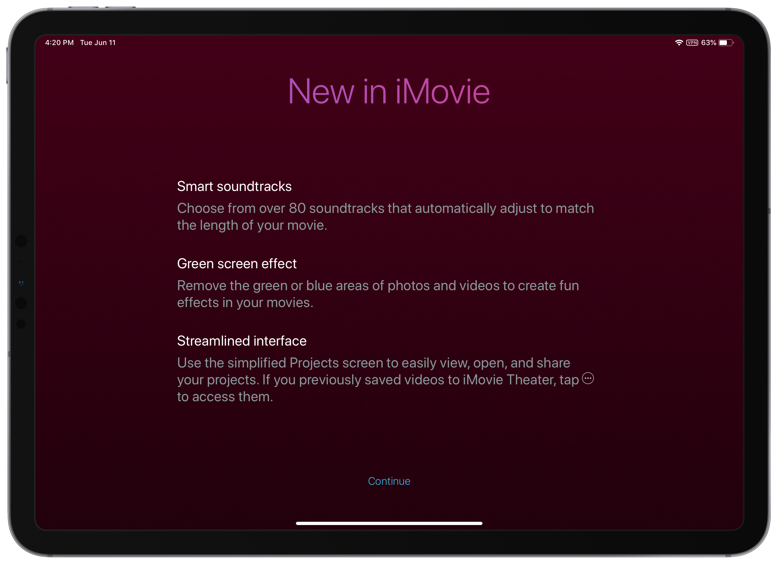 iMovie 2 2 7 Brings Green Screen Editing, New Soundtracks