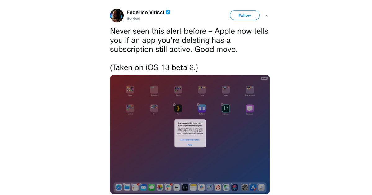 iOS 13 Will Warn You When You Delete an App With an Active Subscription