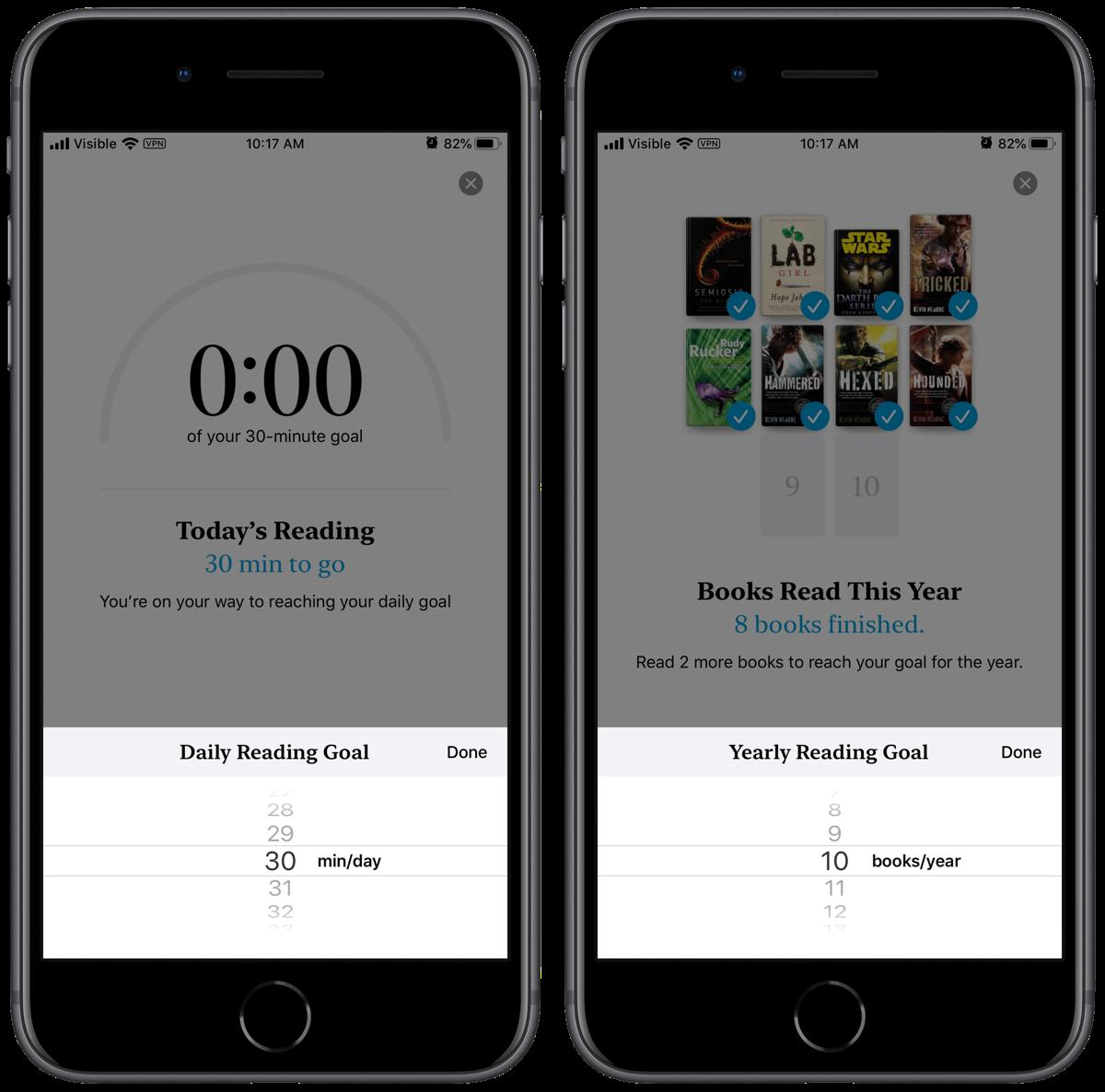 screenshots of apple books reading goals