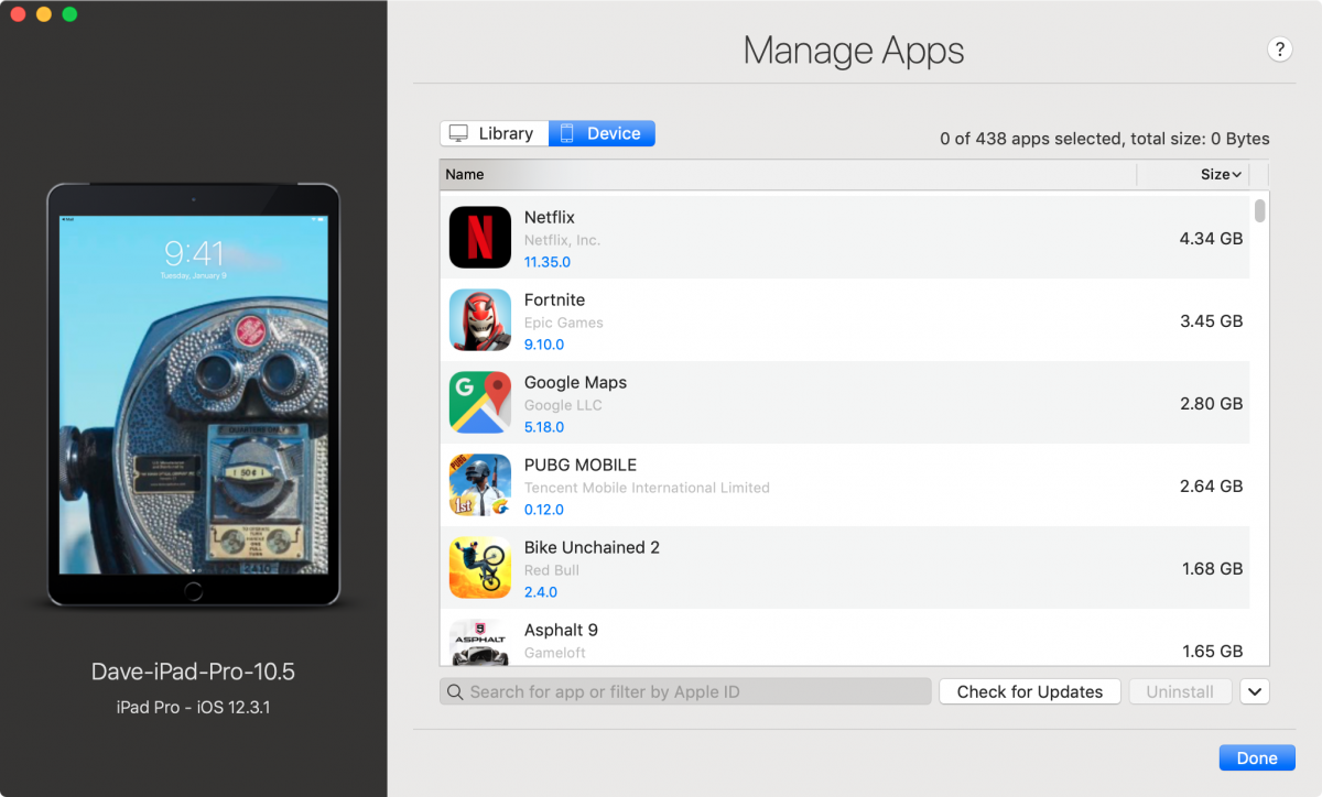 iMazing's App Management screen