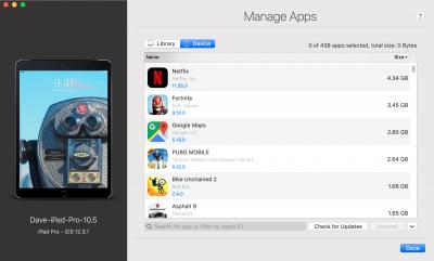 iMazing's App Management screen