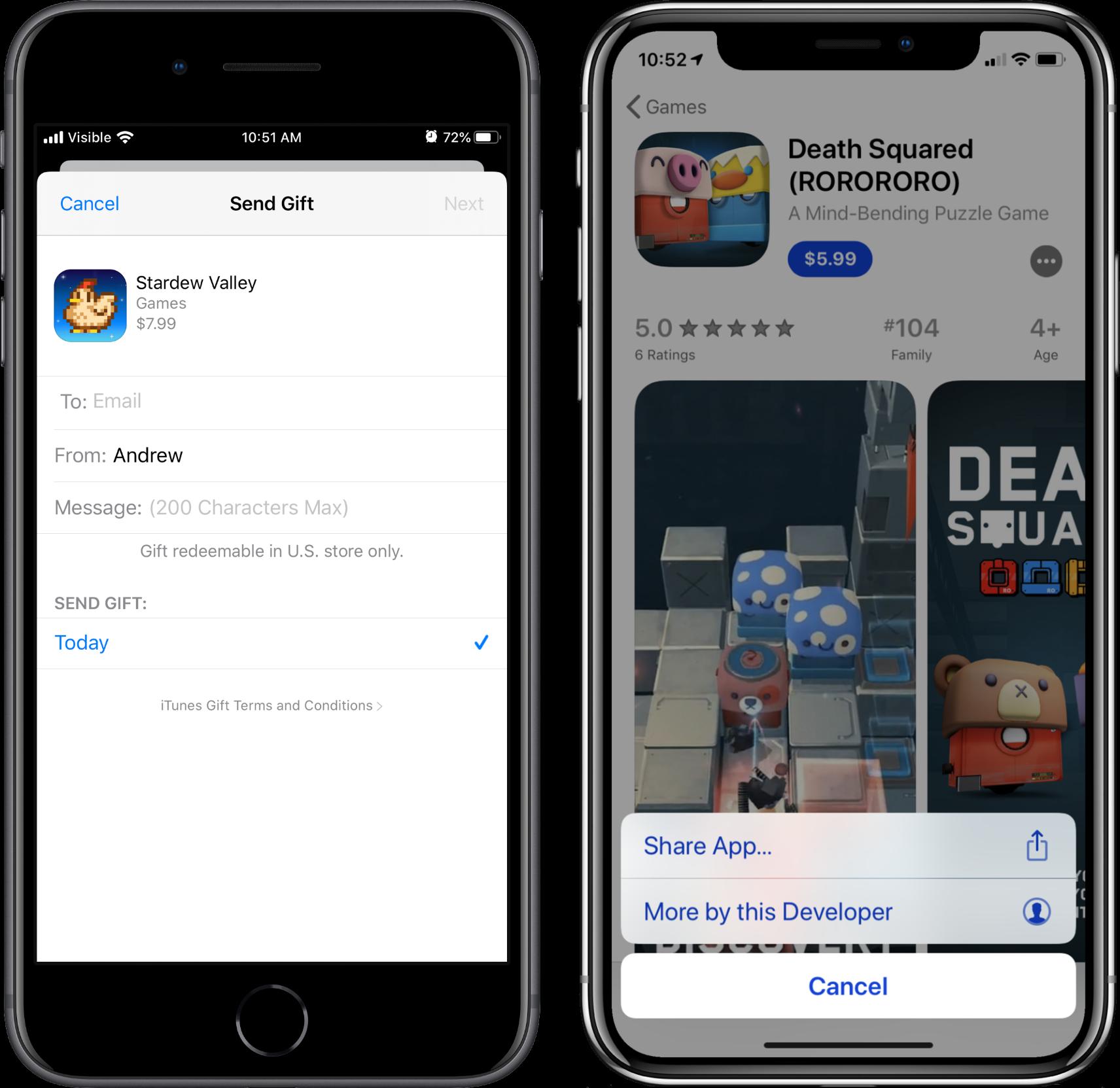 app gifting bug screenshots