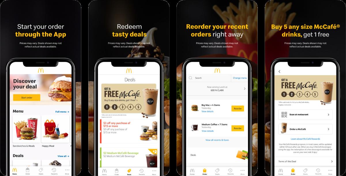 screenshots of mcdonald's app
