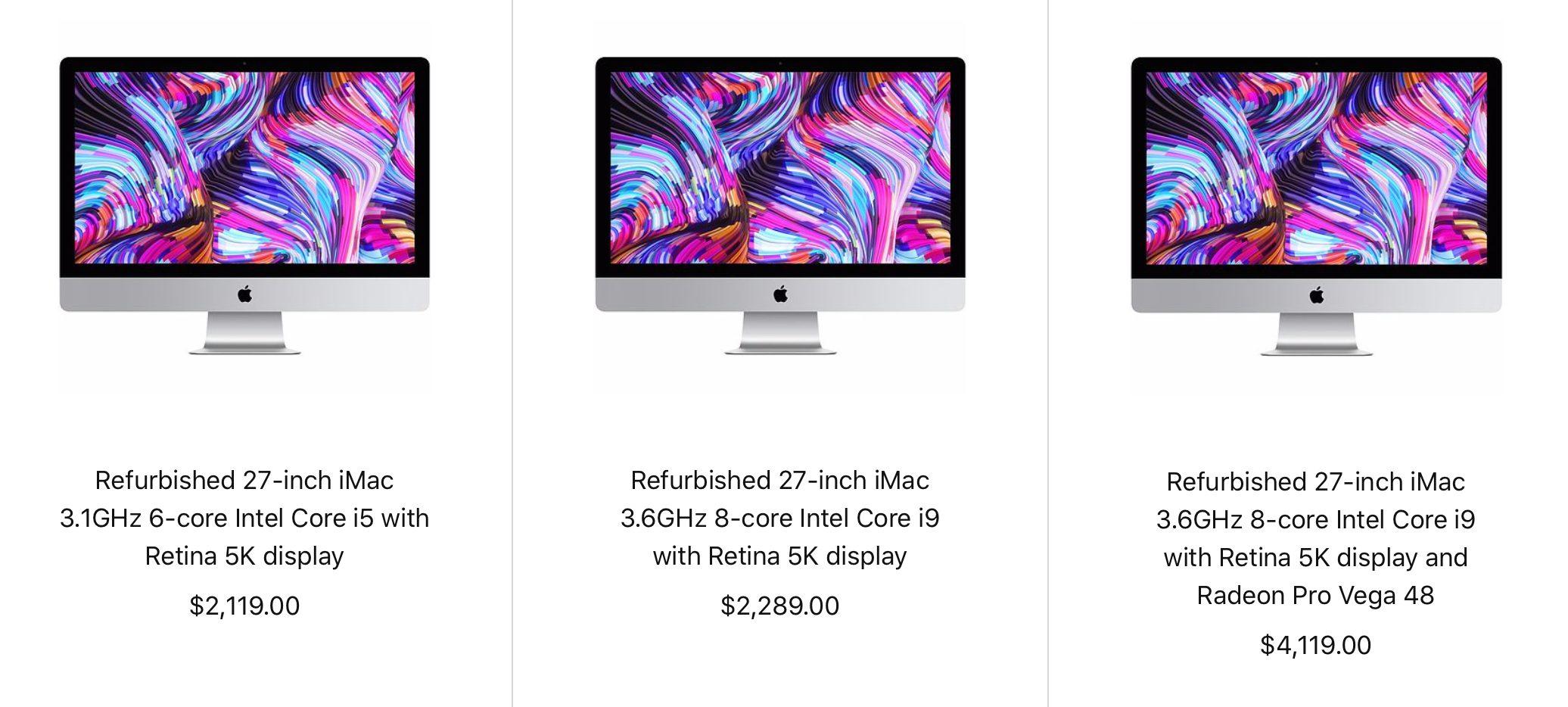 Refurbished 2019 iMac Pricing
