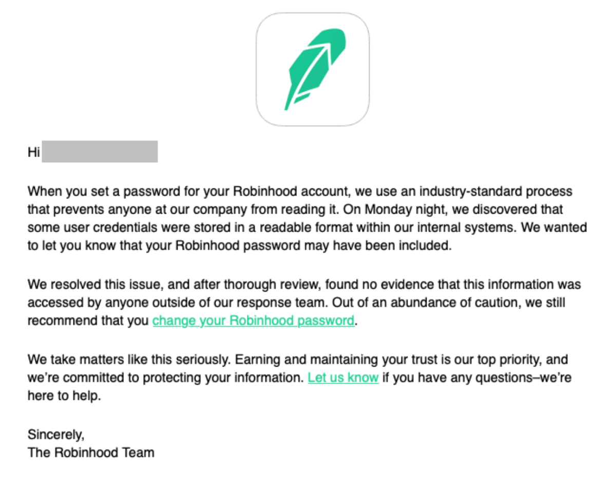 robinhood security email