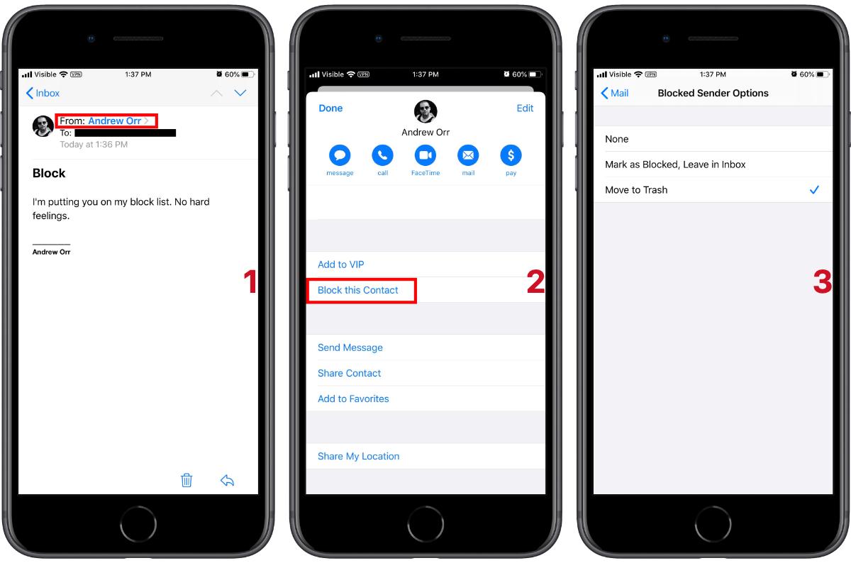 iOS 13 block emails