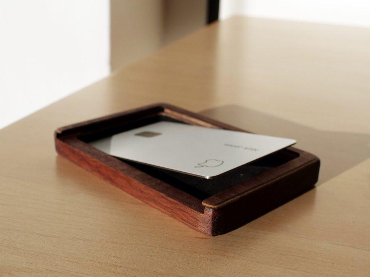 wooden apple card wallet