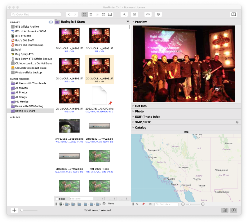 This NeoFinder Smart Folder displays all of my five star images from 11 disks.