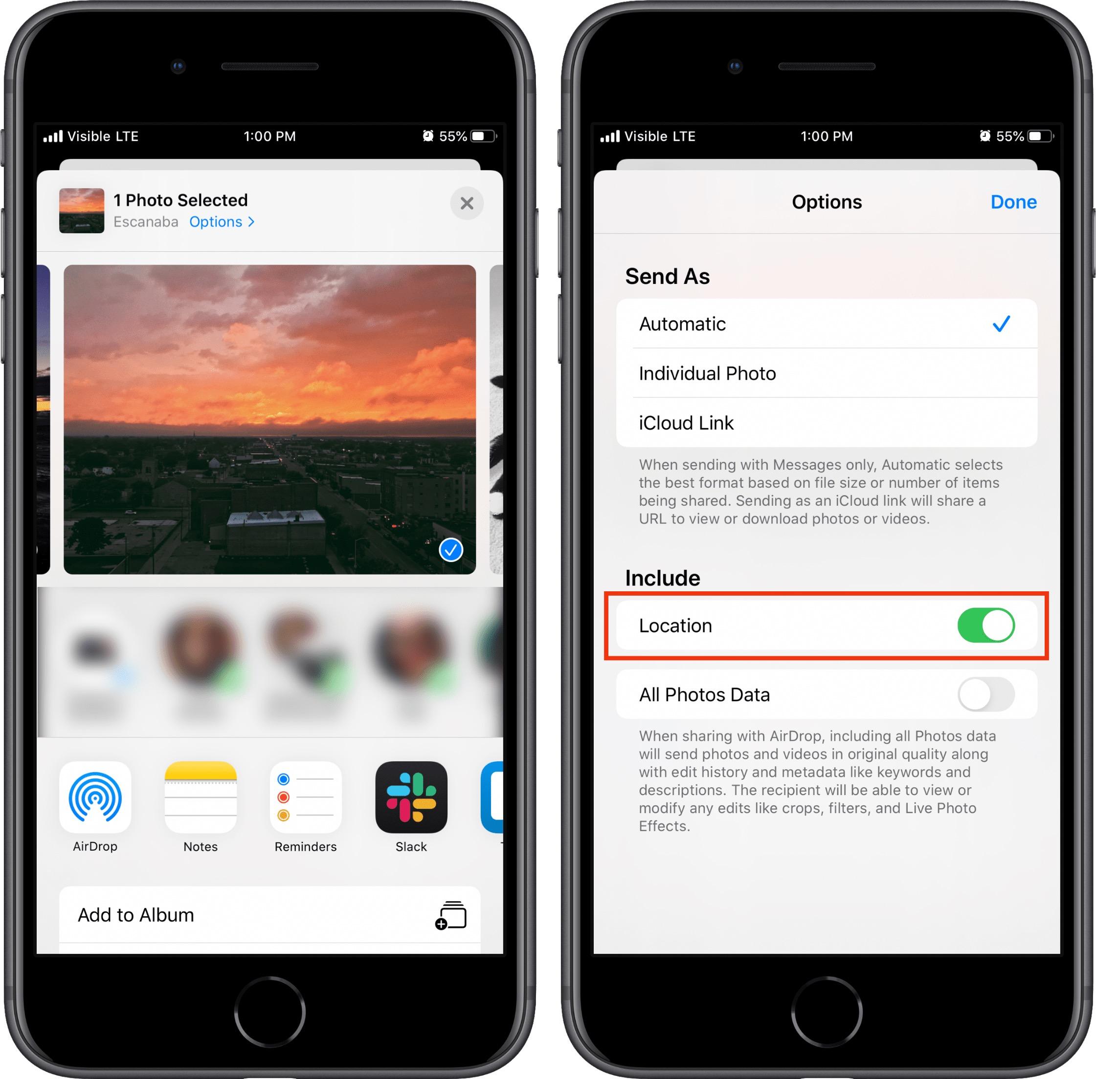iOS 13 remove location data