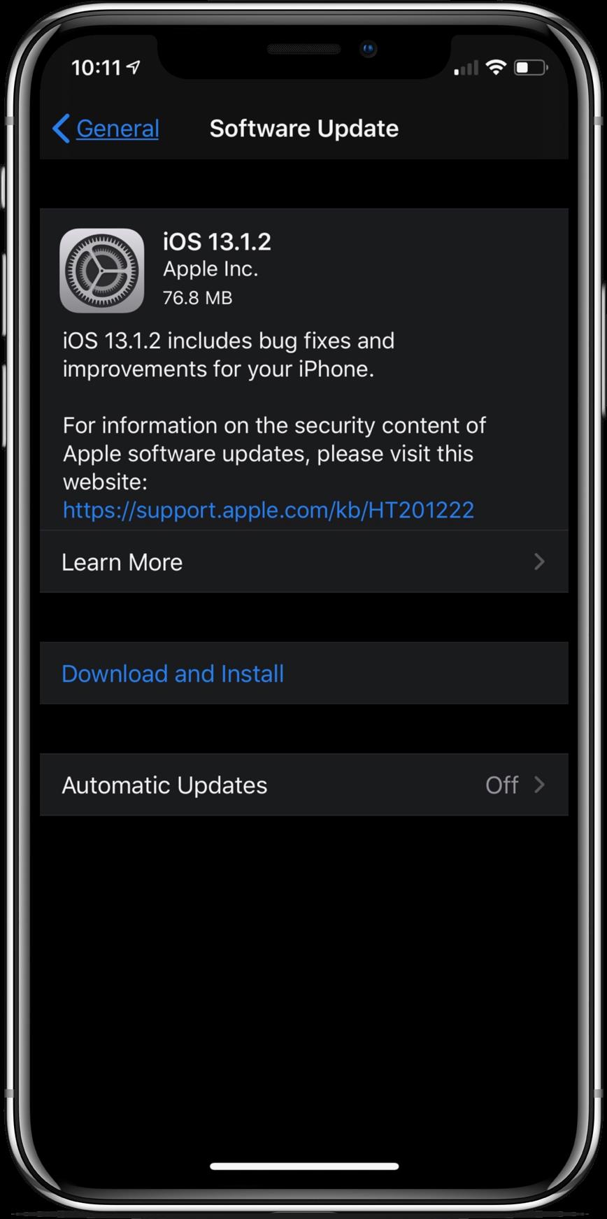 iOS 13.1.2 update screenshot