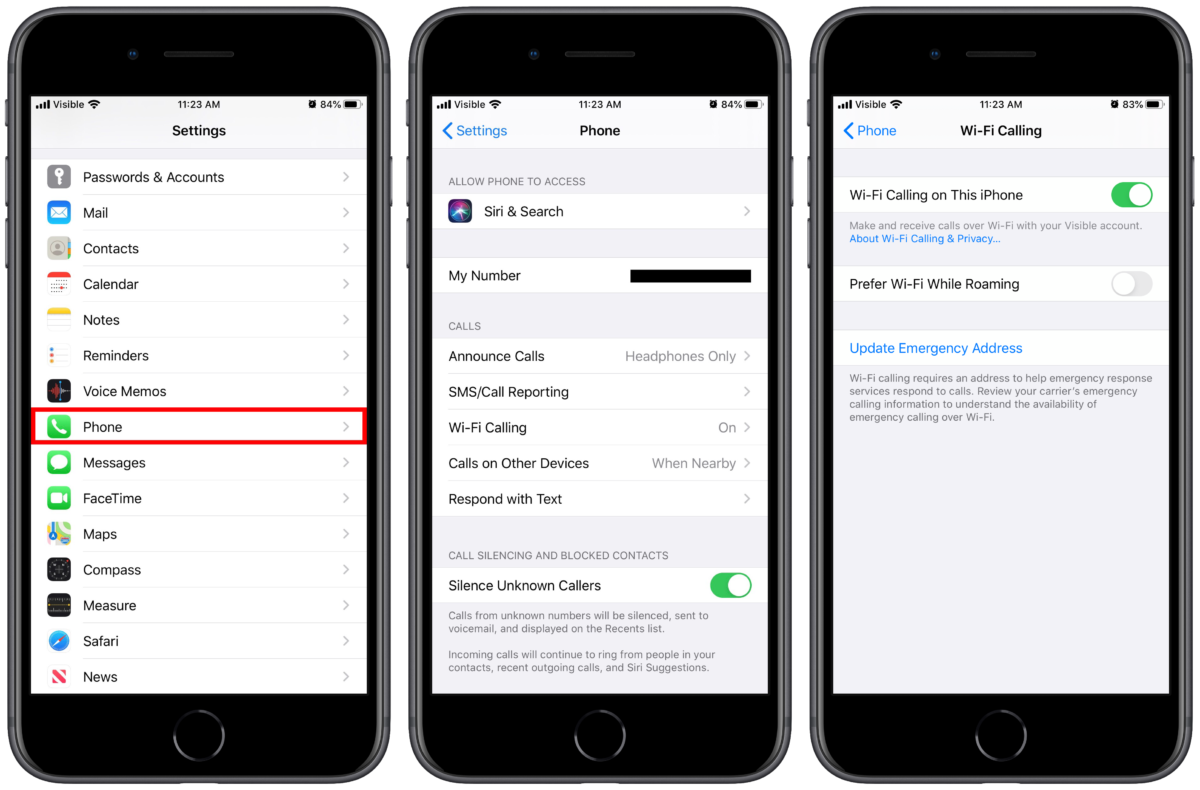 iPhone 11 Wi-Fi calling settings
