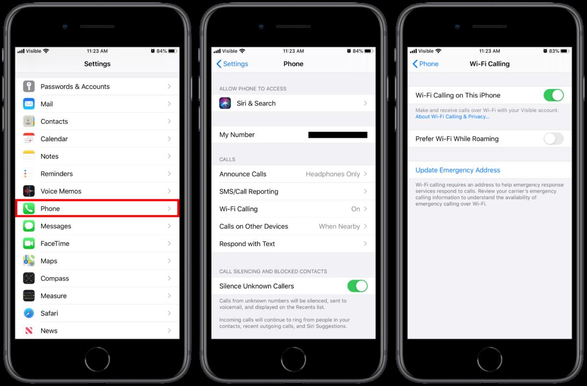 iPhone 11 Wi-Fi calling settings