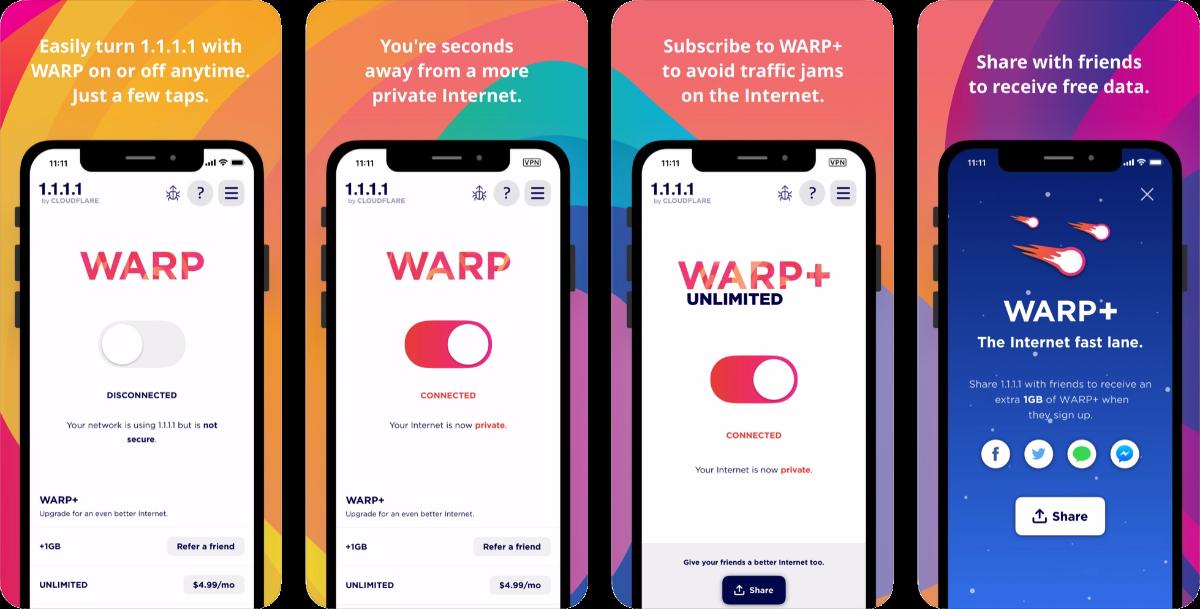 warp vpn screenshots