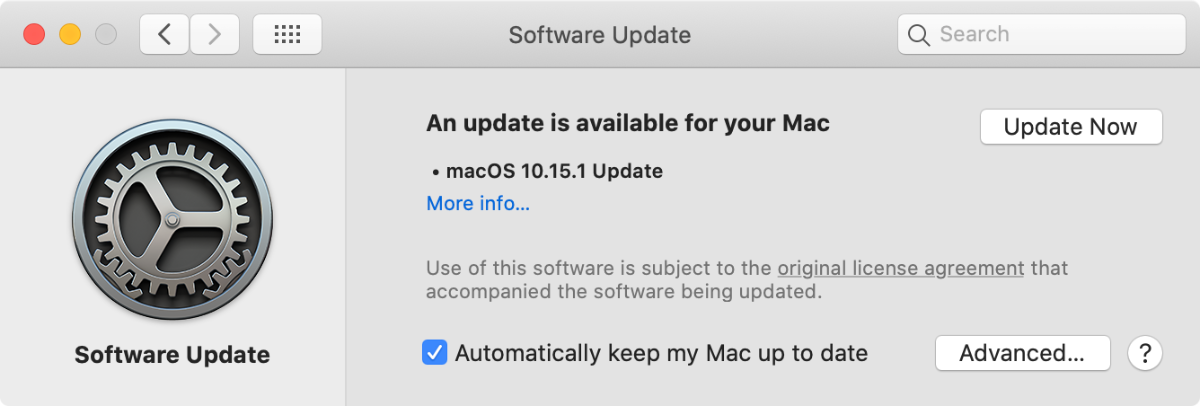 macOS catalina 10.15.1 in system preferences
