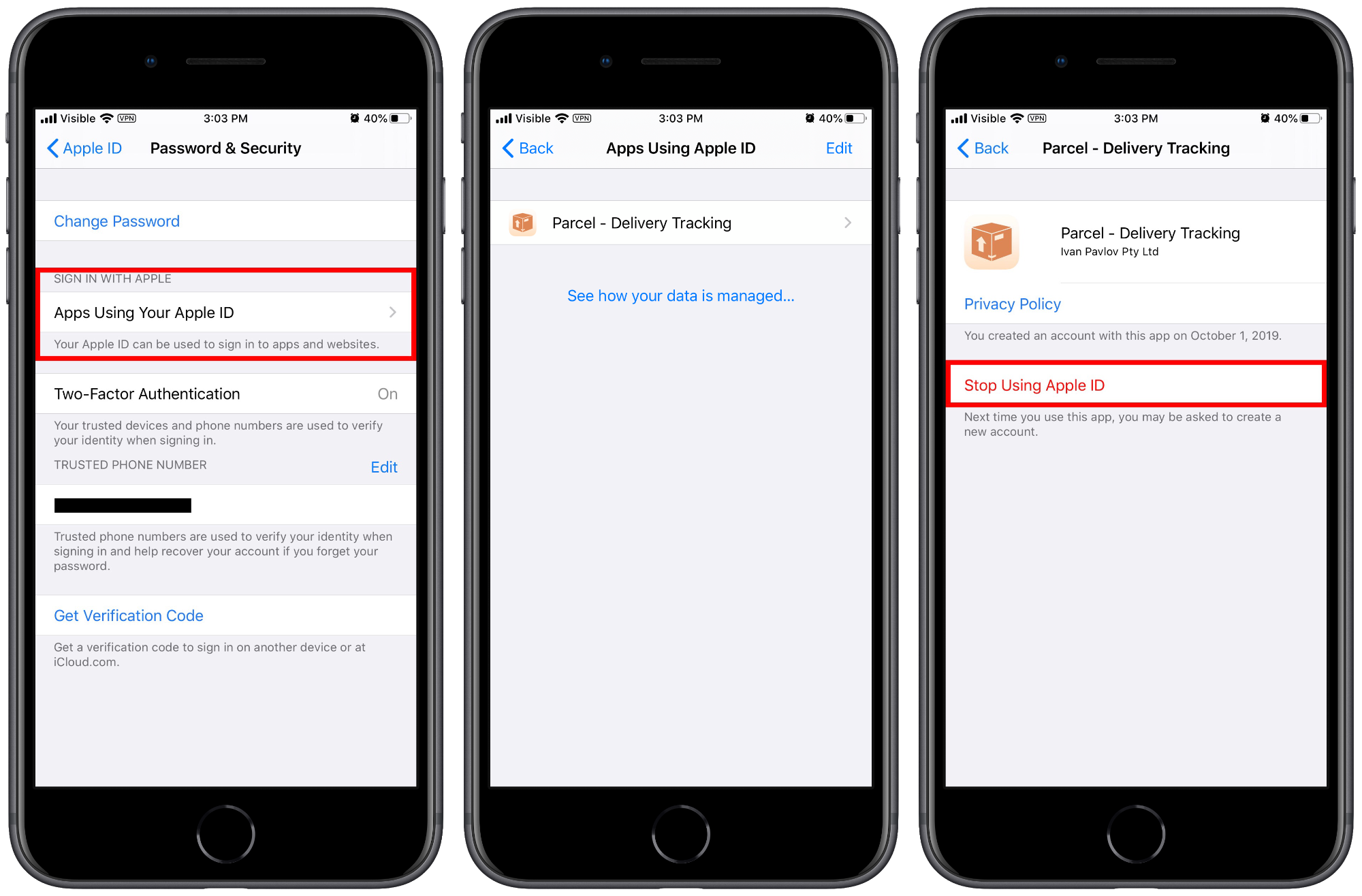 where to find sign in with apple logins in settings